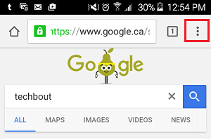 3 Dot Chrome Icon on Android Phone