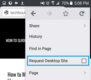 Request Desktop Site in Firefox on Android