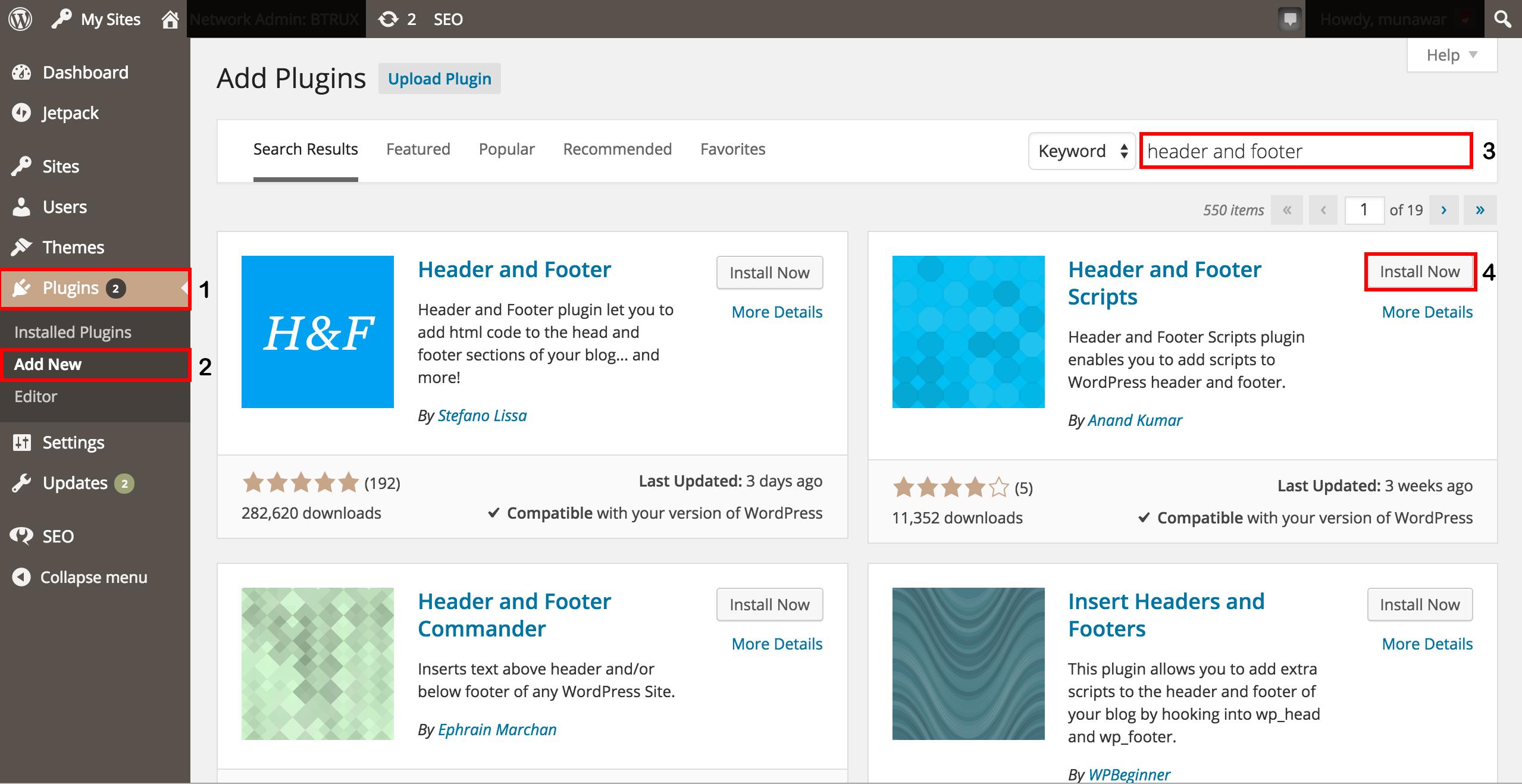 Wordpress plugin - installing the plugin, header and footer.png