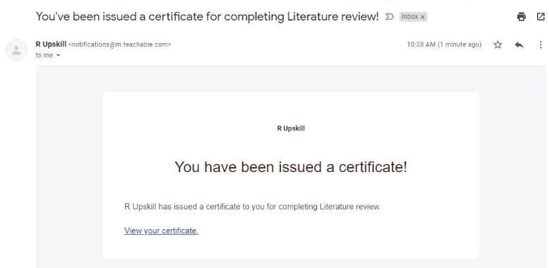 R Upskill certificate email notification