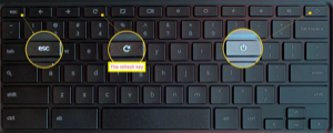 Image of keyboard with esc, refresh and power keys highlighted.