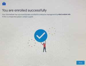 "Screenshot ""Enrolled Successfully"" Press Done."