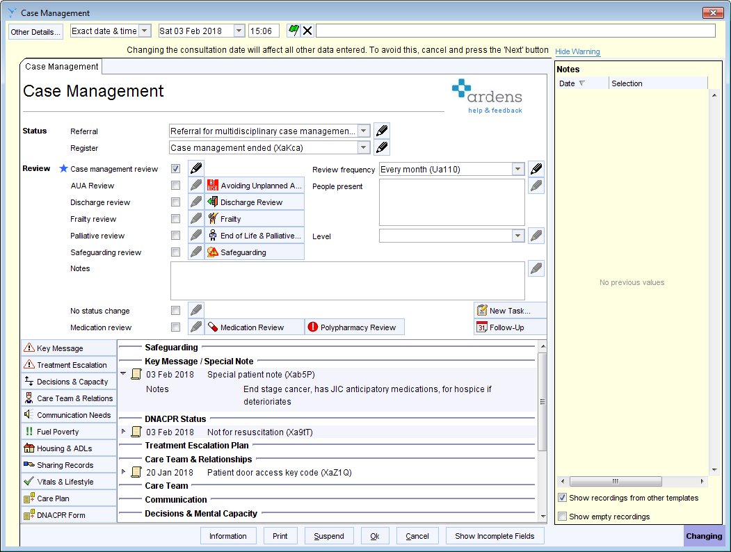 To Do This Simply Select Case Management Ended From The Drop Down Box At Top Of Template