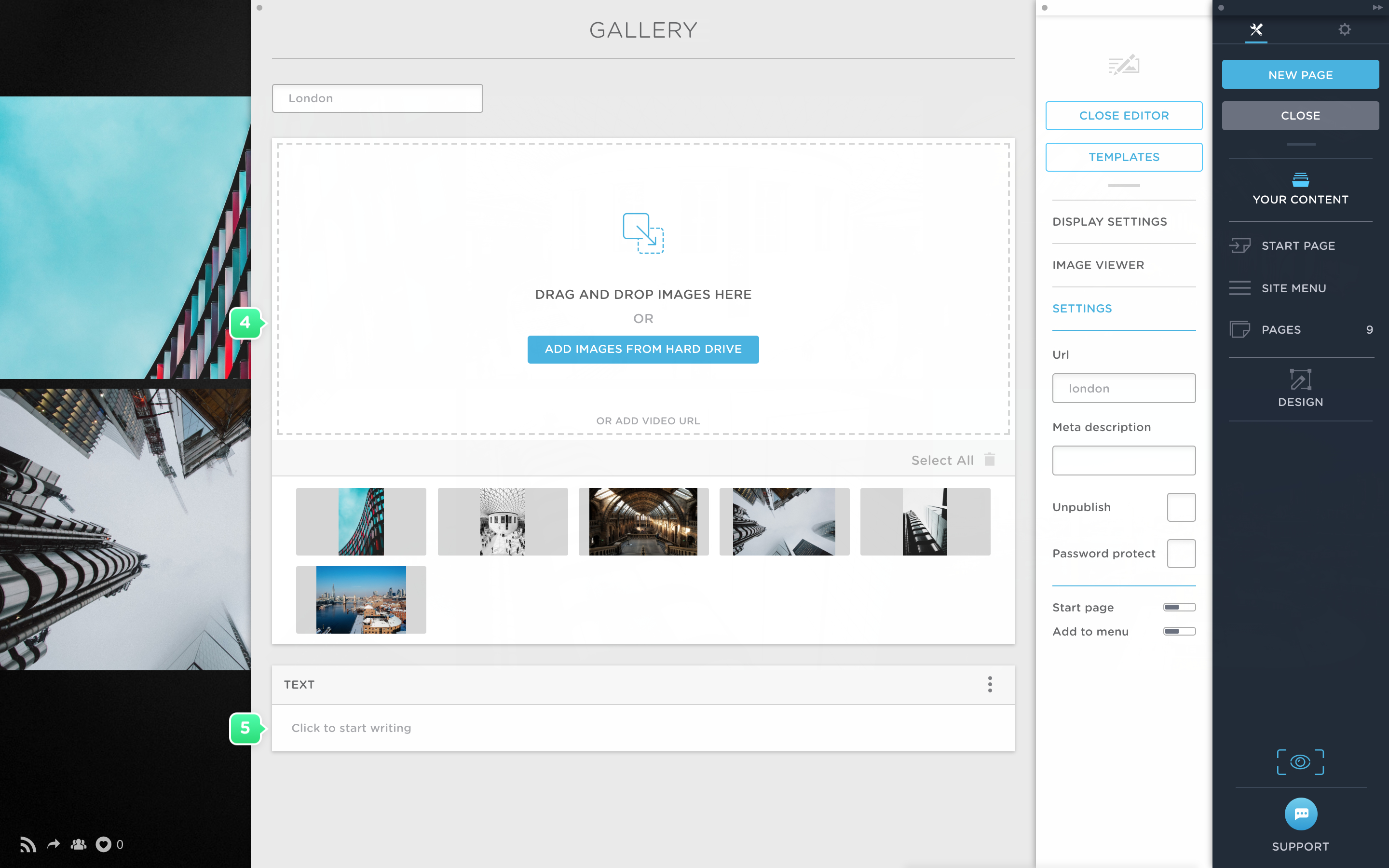Upload images to a gallery in Portfoliobox