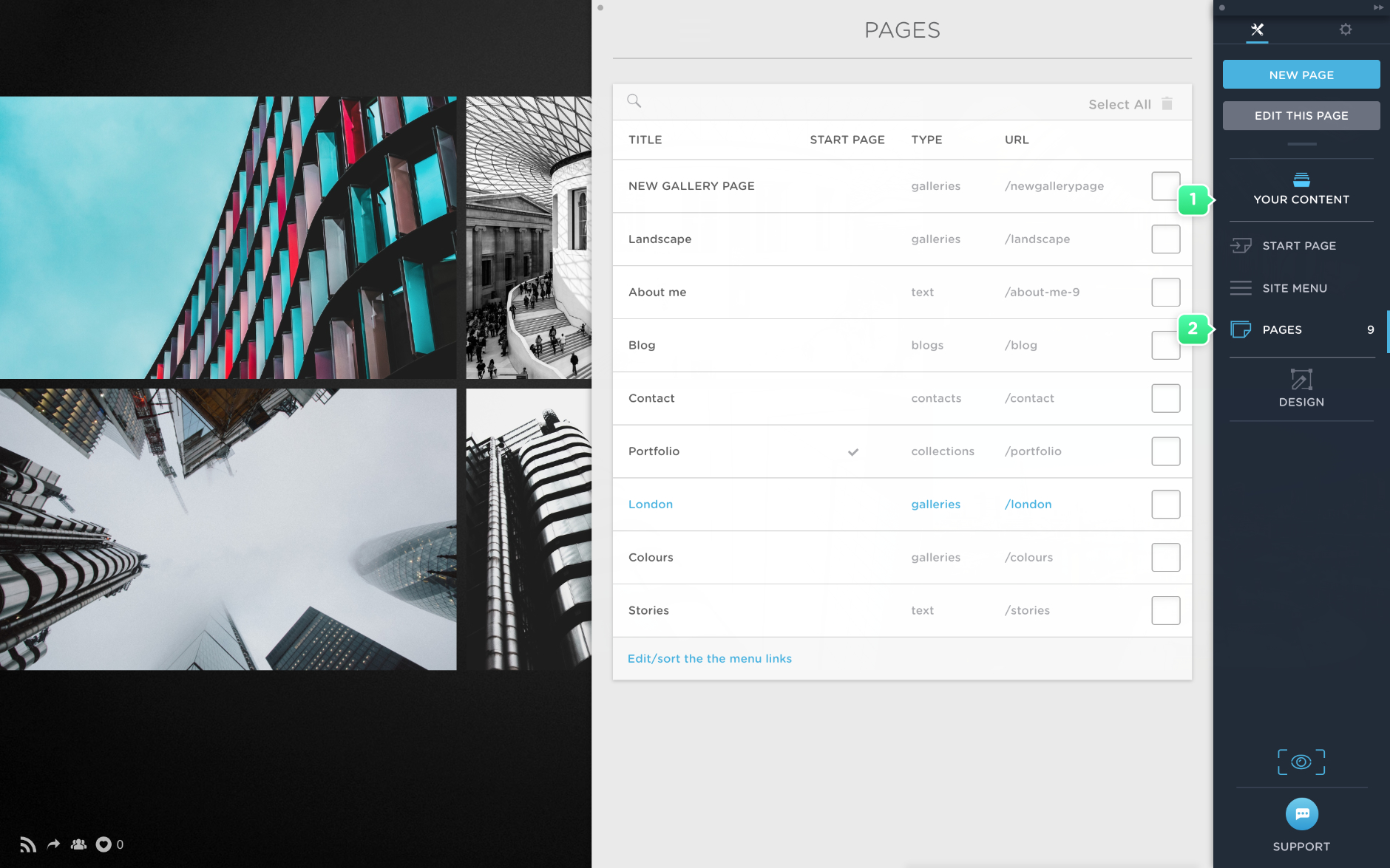 Set up a start page in Portfoliobox
