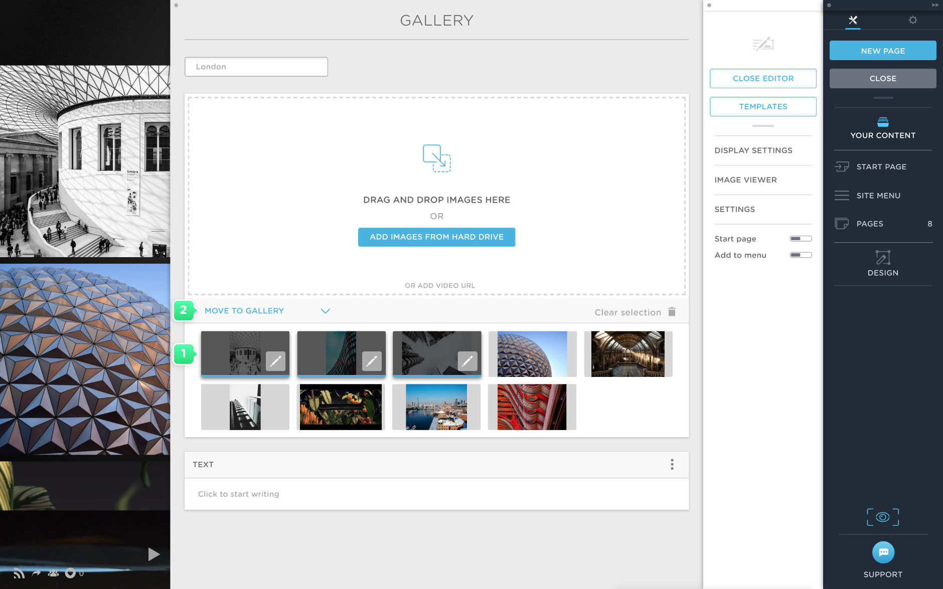 Move images to another gallery in Portfoliobox