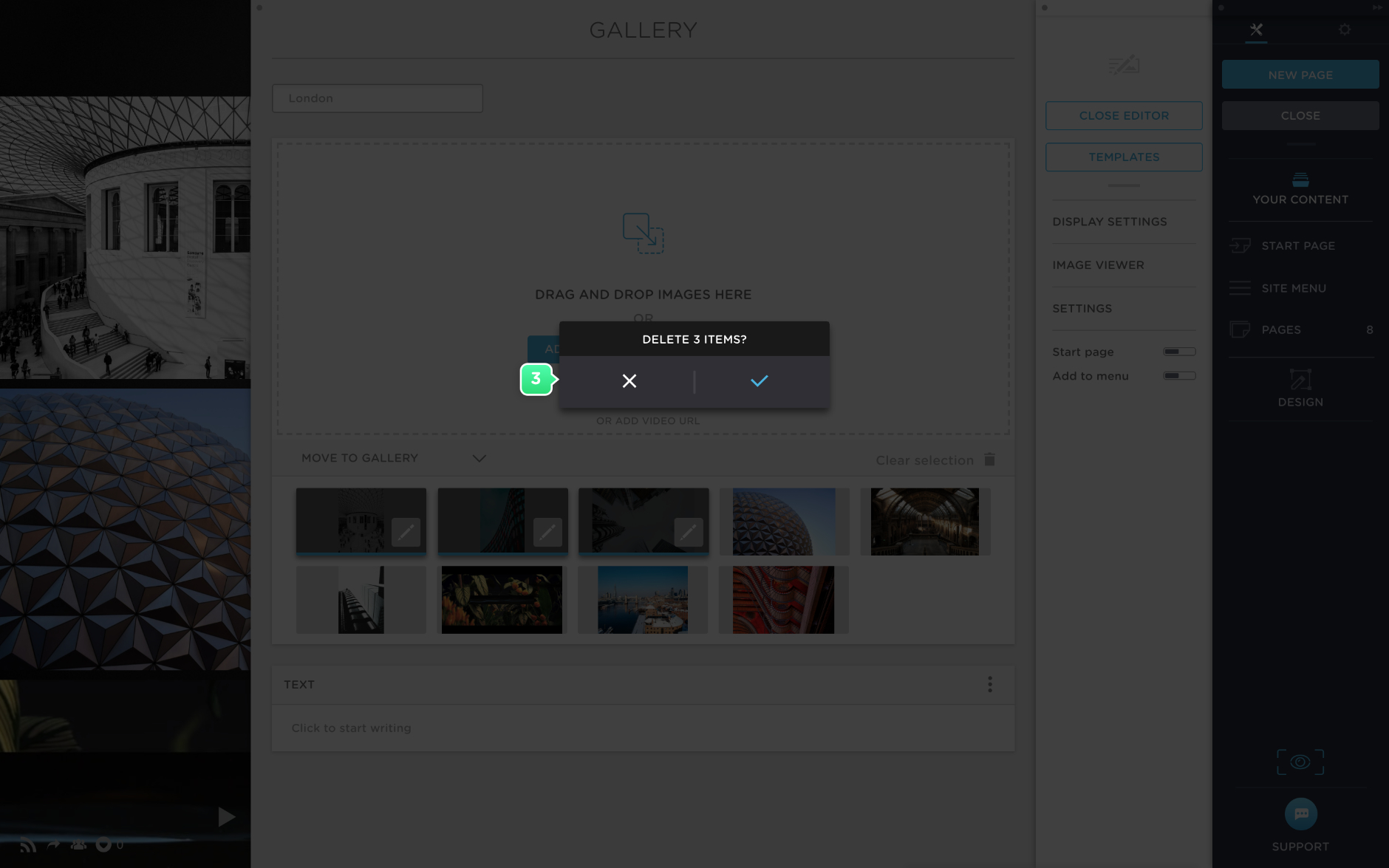 Delete images in a gallery in Portfoliobox