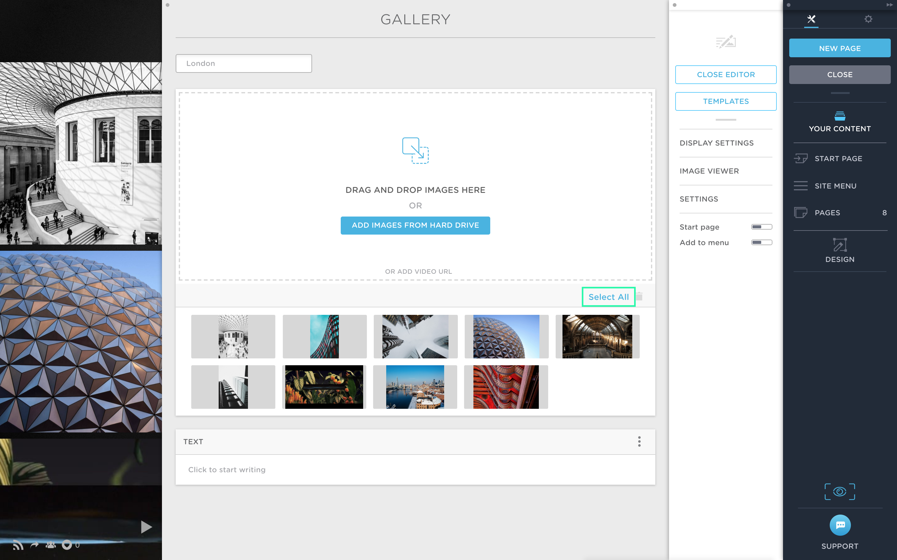 Select all images in a gallery in Portfoliobox