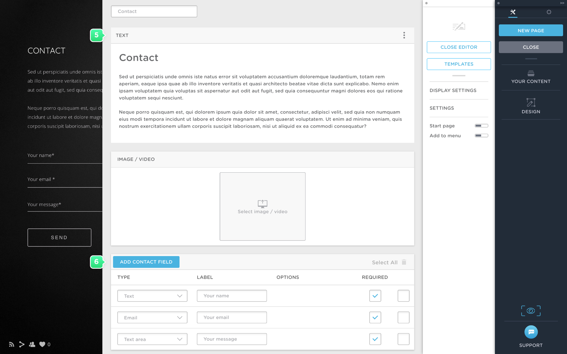 Create a contact page in Portfoliobox