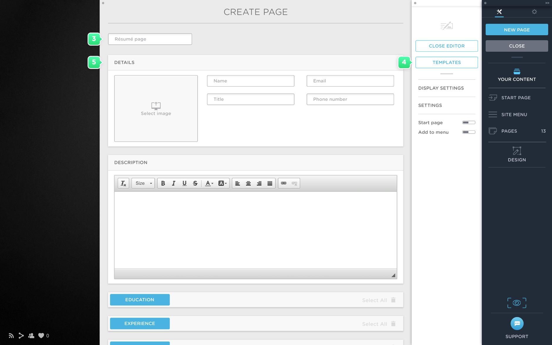 Create a résumé page in Portfoliobox