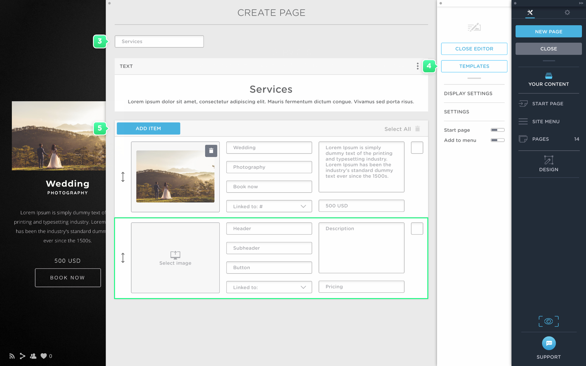 Create a service page in Portfoliobox
