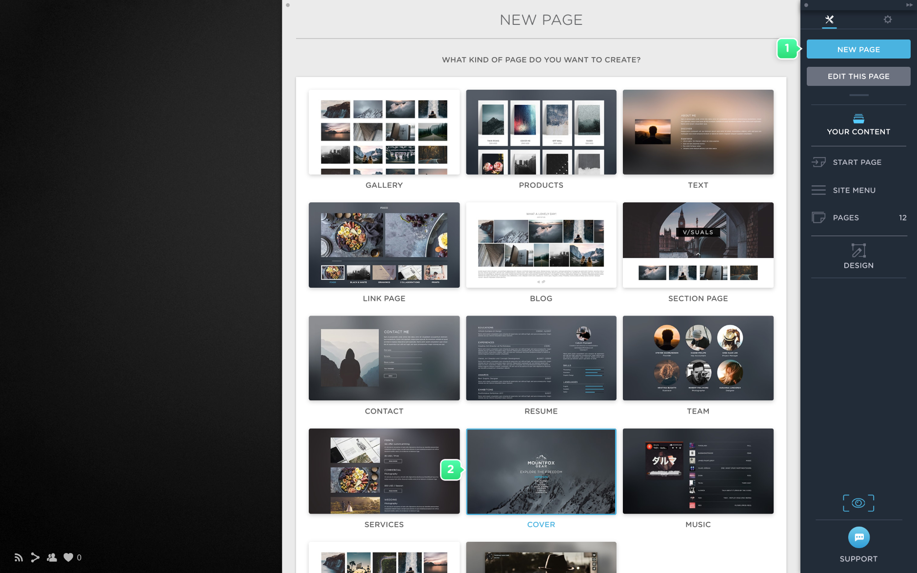 Create a cover page in Portfoliobox