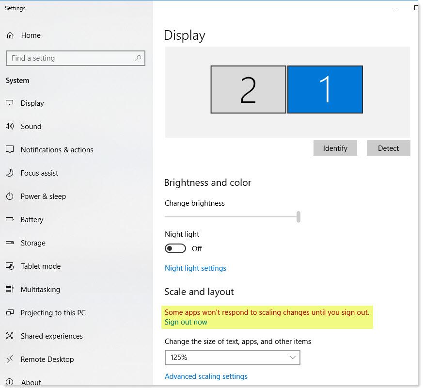 Adjusting Windows Scaling Setting