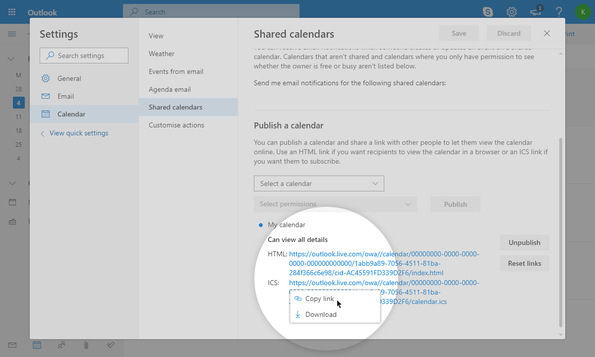 Outlook Calendar Iframe