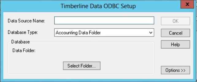Machine generated alternative text: Data Source Name:  Database Type:  Database  Data Folder:  Timberline Data ODBC Setup  Select Folder..  x  OK  Help  Options