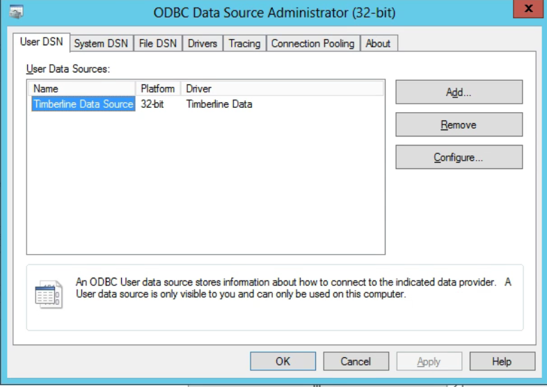 Machine generated alternative text: ODBC Data Source Administrator (32-bit)  File DSN Drivers Tracing Connection Pooling About  x  User DSN System D SN  user Data Sources:  Name  Platform  Timbedine Data Source  32-bit  Diver  Timbedine Däa  COHigure..  An ODBC User däa source stores infomation *out how to connect to the indicated data provider.  user data source is only visible to you and can only be used on this complier.  OK