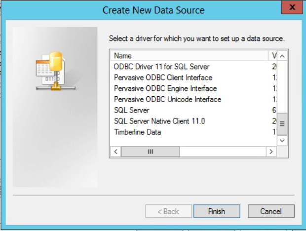 Machine generated alternative text: Create New Data Source  Select a driver for which you to set a source.  ODBC Drtver 11 for SQL Server  Pervasive ODBC Intaface  Pervasive ODBC Engine Interface  Pervasive ODBC Unicode htefface  SQL Serv•er  SQL Server Native Client 11.0  Trnbedine Data  111  6