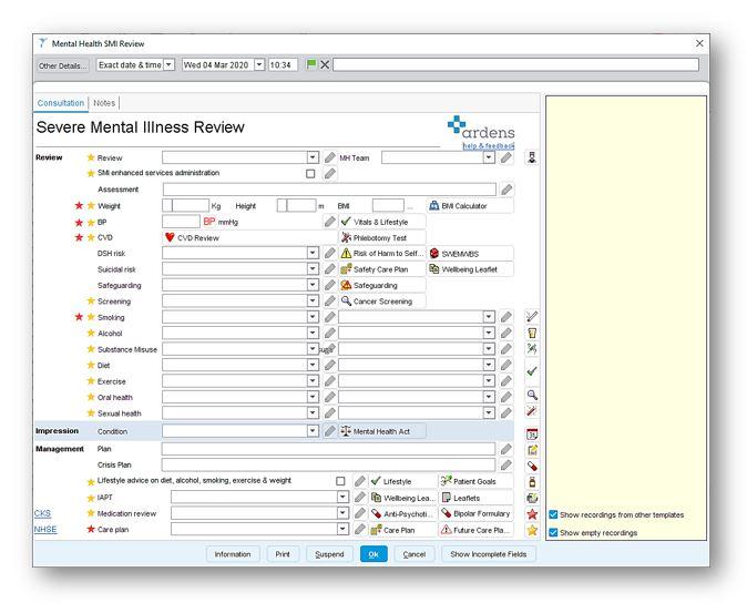 Mental Health SMI Review : Ardens Healthcare Informatics