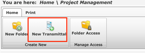 You are here:  Home Print  Home \ Project Management  New Folde New Transmittal  Create New  Folder Access  Manage Access