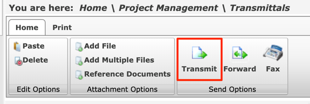 You are here:  Home Print  Paste  Delete  Edit Options  Home \ Project Management \ Transmittals  Add File  Add Multiple Files  Transmit Forward  Fax  Reference Documents  Attachment Options  Send Options