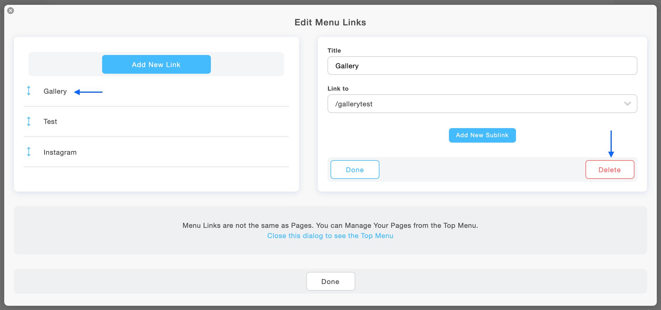 Delete a menu link in your Portfoliobox website