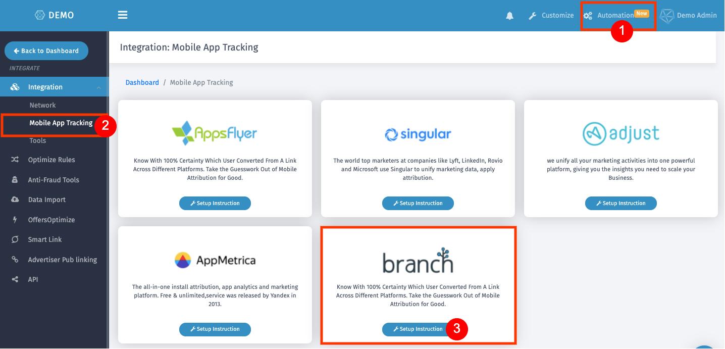 Branch-trackier-integration