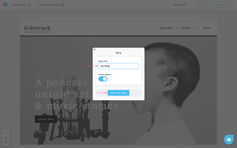 Create a blog with Portfoliobox