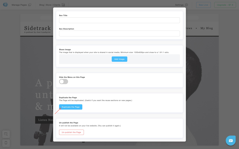 Duplicate a page in Portfoliobox