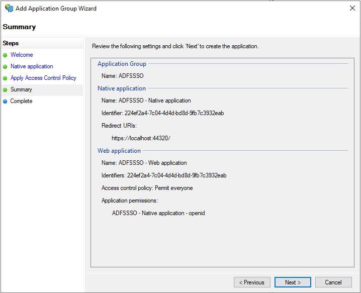Screenshot that shows Summary screen.