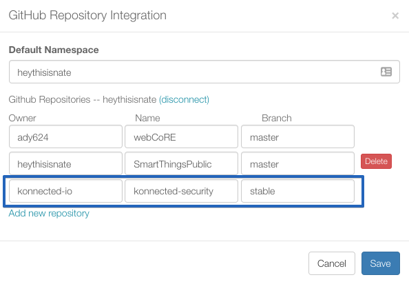 SmartThings: Enable GitHub Integration : Konnected Help & Support