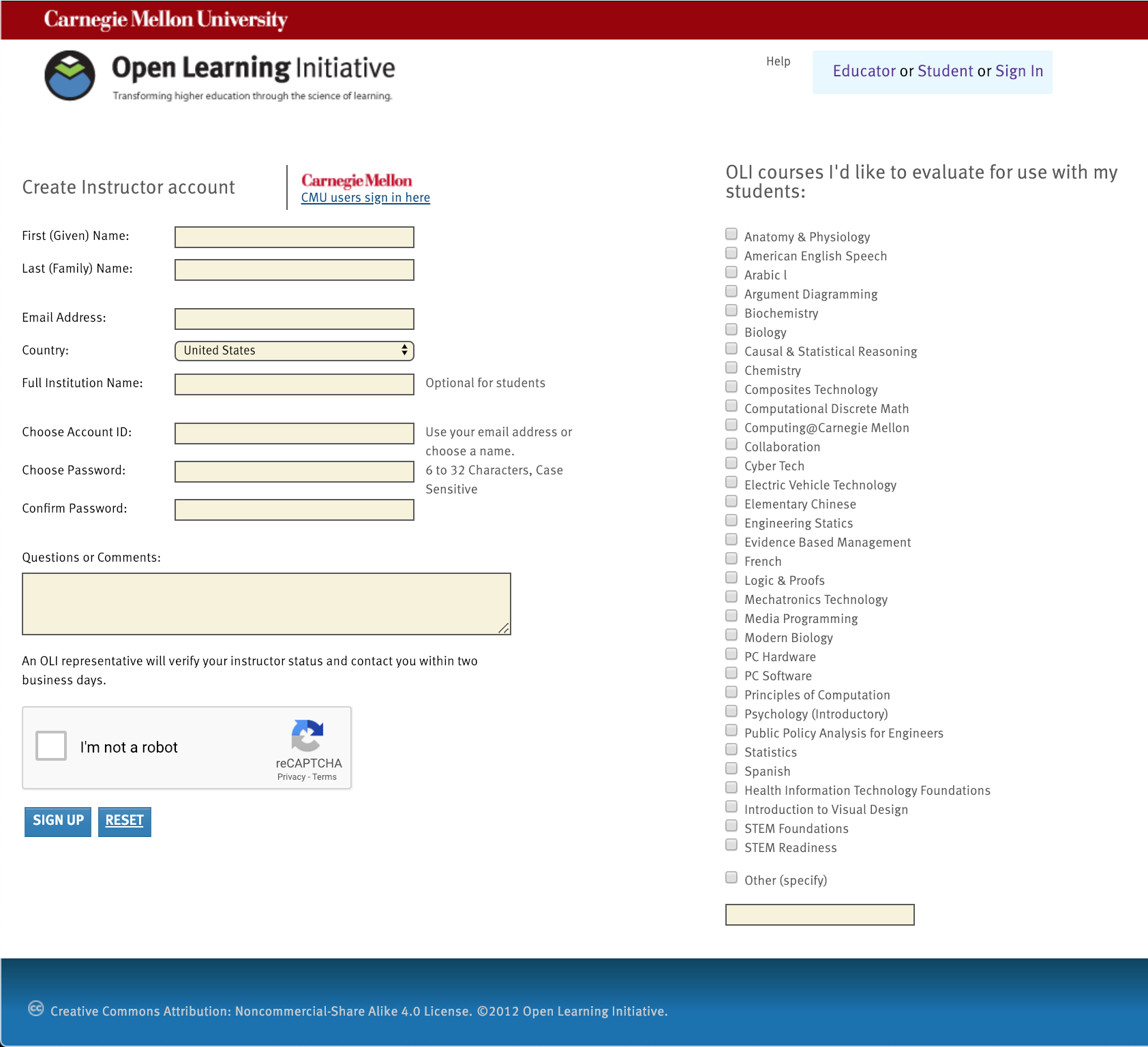 A screen capture of the Instructor request form, showing the fields the user must fill out, the Recaptcha tool, and the list of courses available for evaluation.