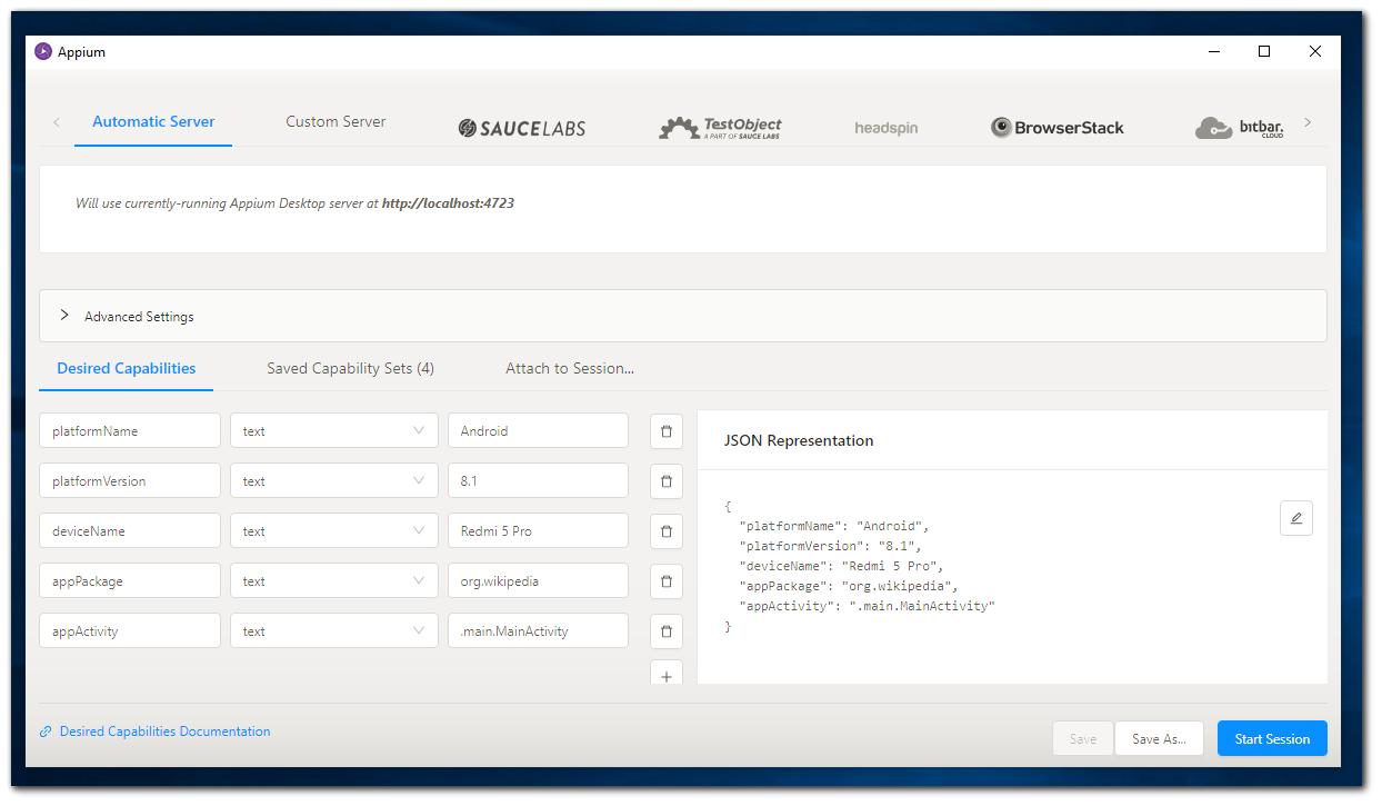 Desired Capabilities on Appium Desktop - noReset : Help Center