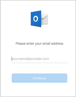 The first screen you see asks you to enter your email address