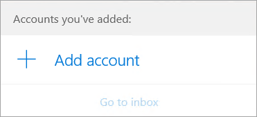 The Add acount dialog box on the Mail welcome page