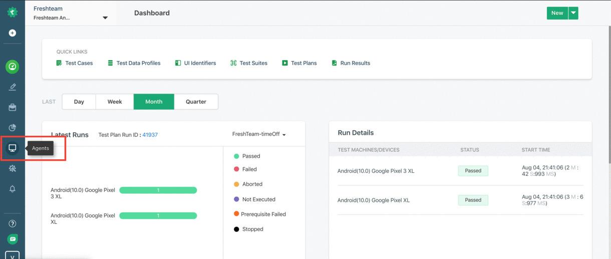 Testsigma Dashboard Page