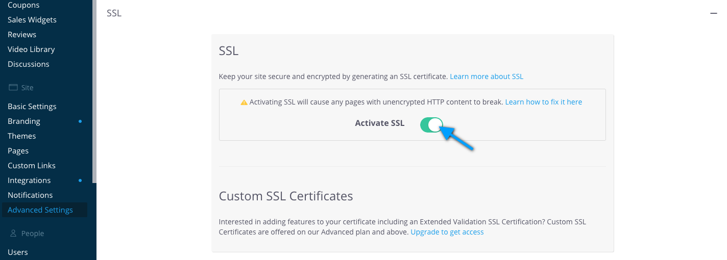 Activate SSL from the Advanced Settings page