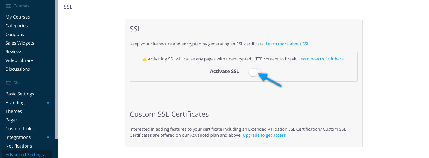 Deactivate SSL for the Advanced Settings page