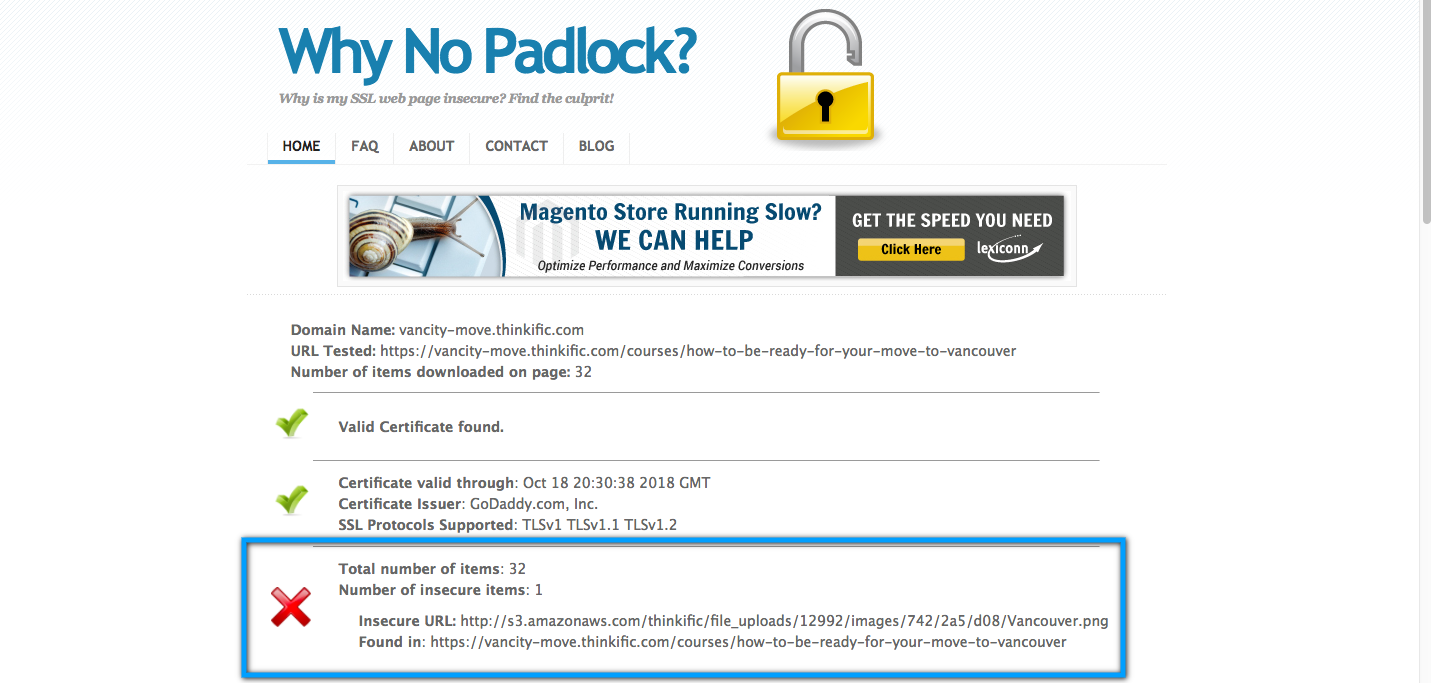 A report from Why No Padlock, highlighting a file as an insecure element on a page