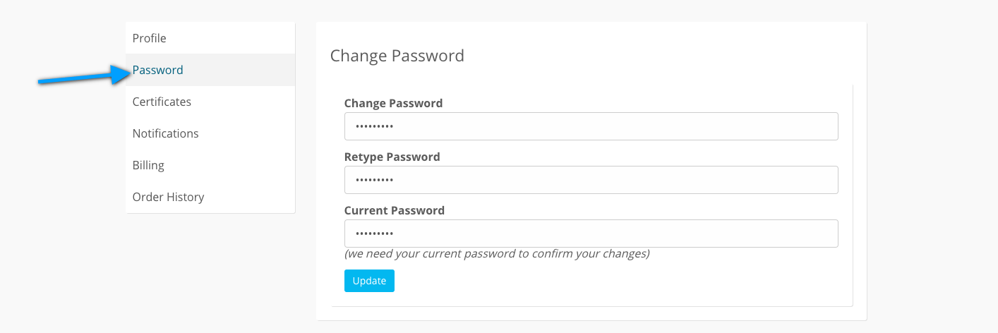 The Password tab of the My Account page