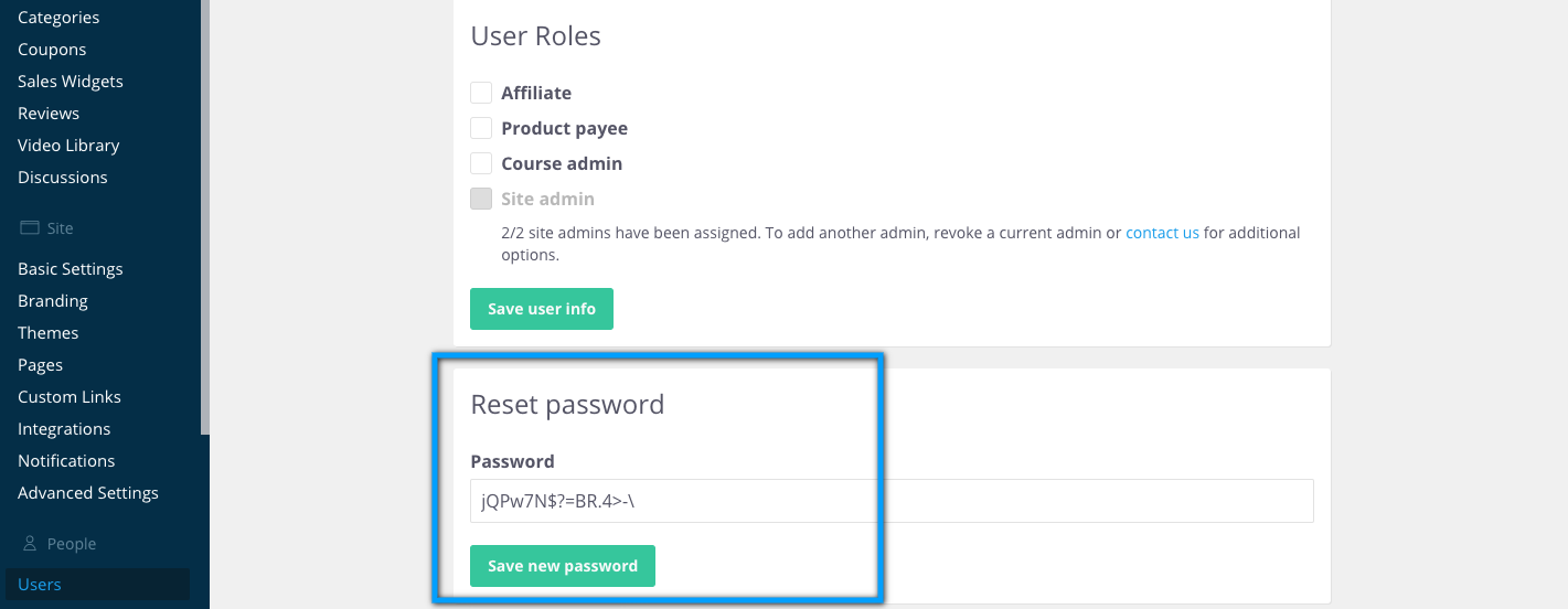 Reset password on the edit user page