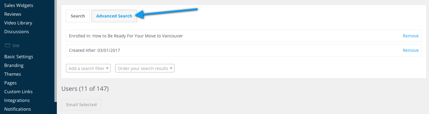 Advanced search filters on the users page