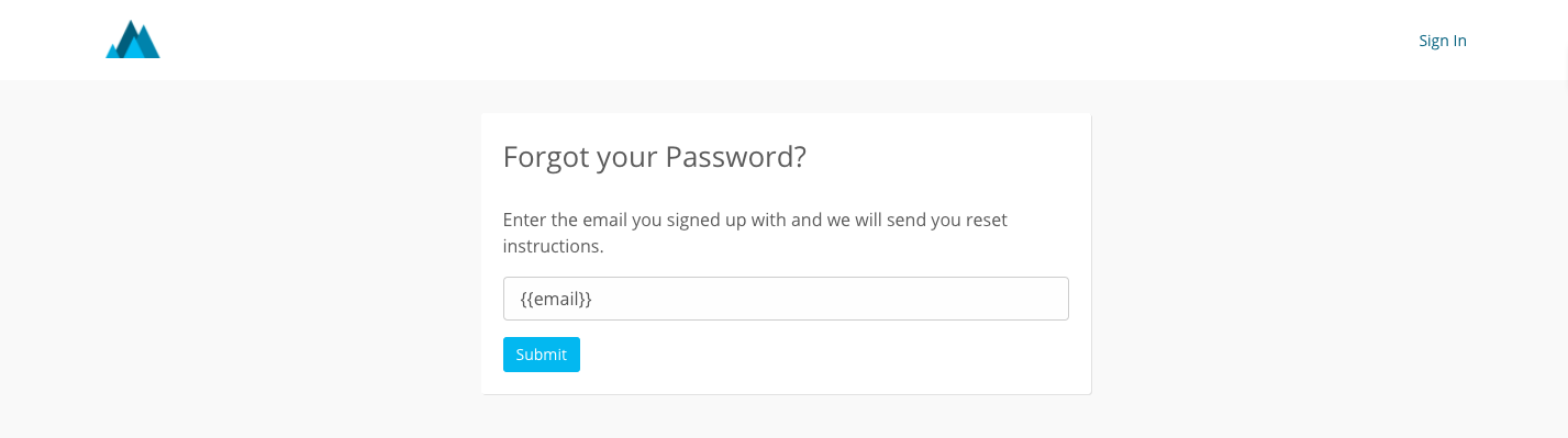 Forgot password page on Thinkific