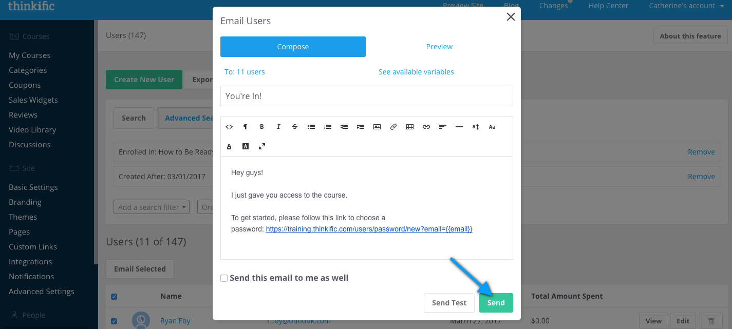 Mass user email compose screen