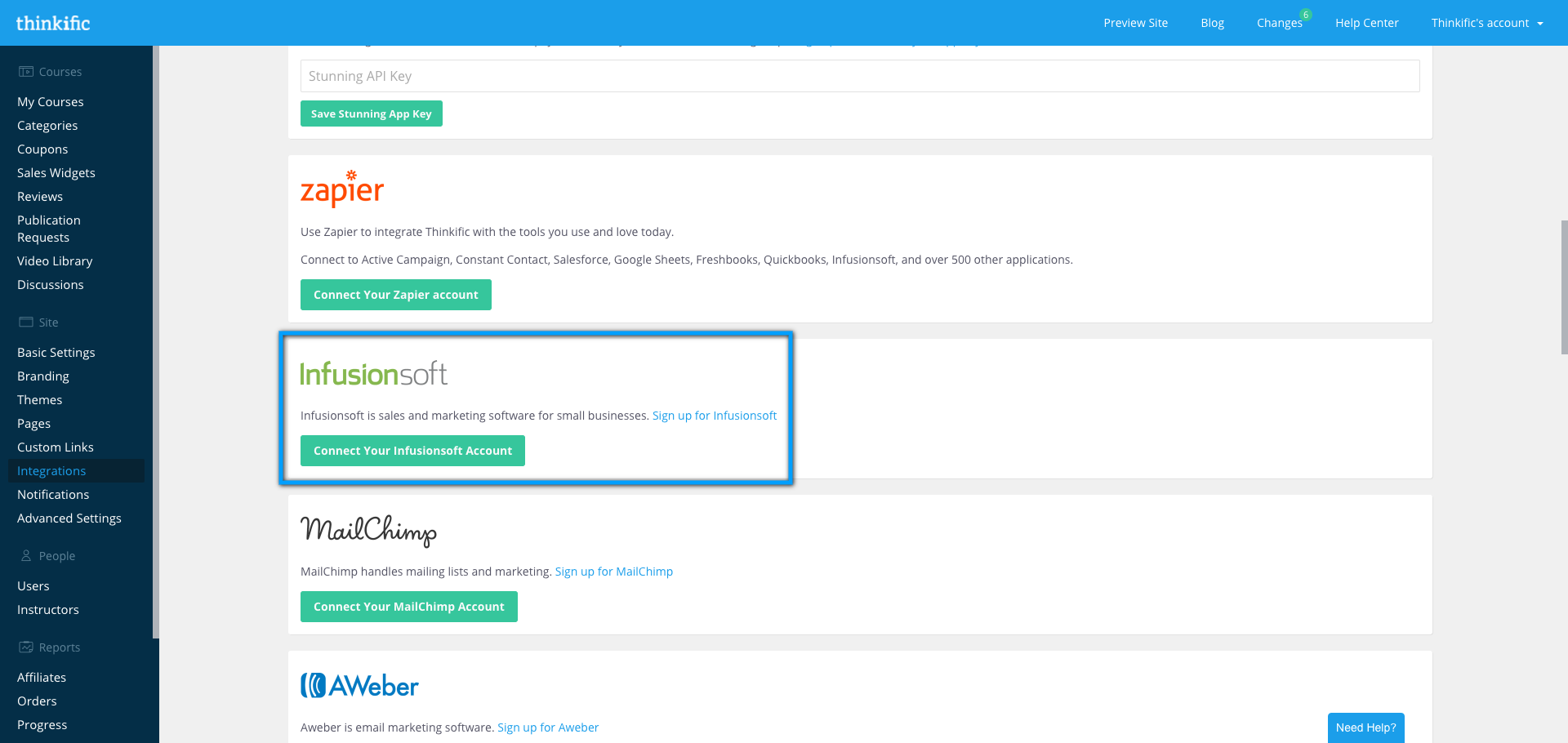 The Thinkific Integrations page