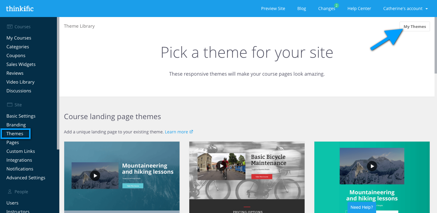 The Themes page of the admin dashboard