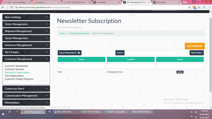 newsletter subscription support desk