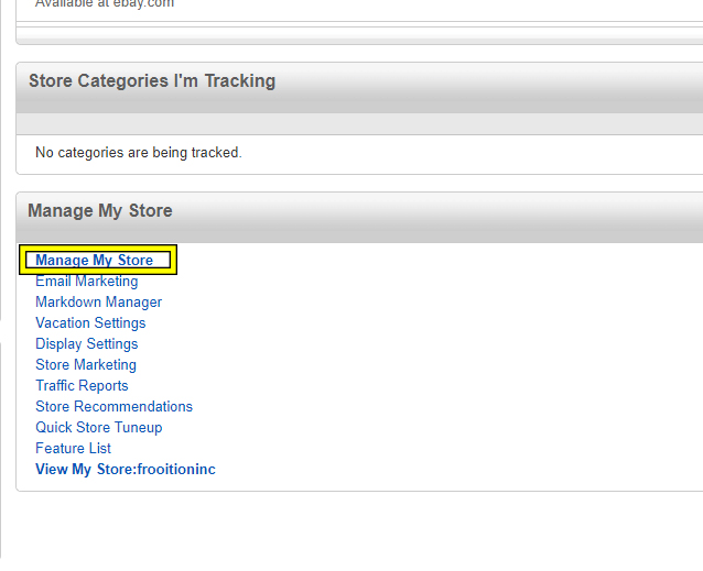 Frooition Ecommerce support: Update eBay Categories to Store