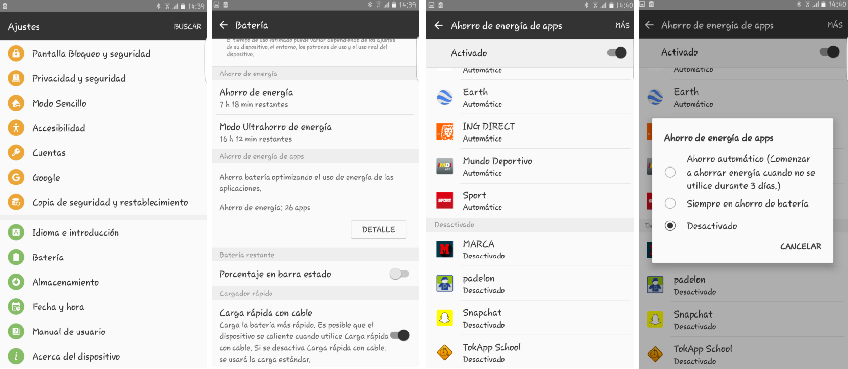 Desactivar modo ahorro de batería en teléfonos Samsung - Soporte TokApp