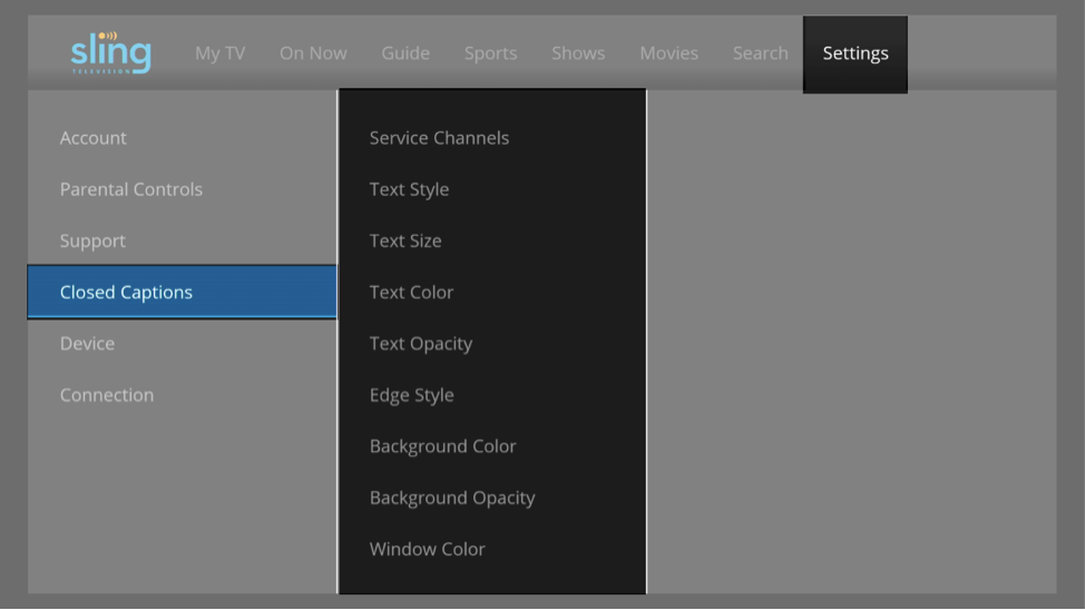 The options available for Closed Captions on the Sling TV Settings menu