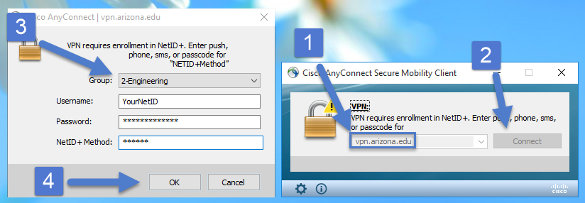 Enter 'vpn.arizona.edu', then click 'Connect'.  Select Group '2-Engineering', enter credentials, and click 'OK'.